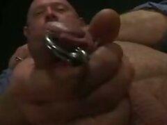 Pierced cock bear masturbates