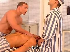 Horny prisoners and cops fuck in the cell