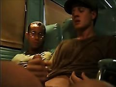 Military men masturbate on train