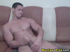 Muscled Dude Gets Dildo On And Off His Anal Hole