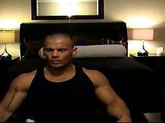 Muscular man naked webcam show