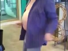 Nasty mature man dances in a flowershop