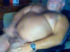 Big fat gay bear masturbates on webcam